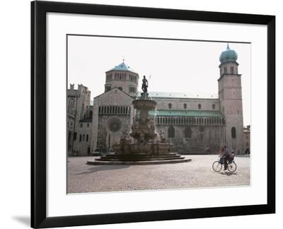 Piazza Duomo, with the Statue of Neptune, Trento, Trentino, Italy-Michael Newton-Framed Photographic Print