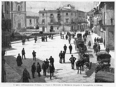 Piazza E Municipio at Monreale, at the Time of the 1894 Insurrection--Photographic Print