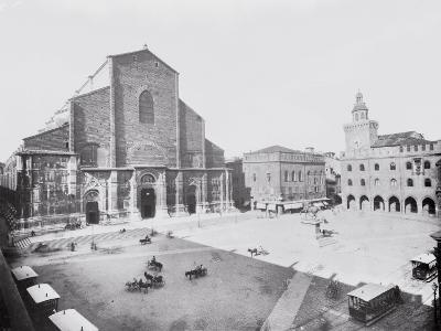 Piazza Maggiore and a View of the Church of San Petronio in Bologna-A^ Villani-Photographic Print