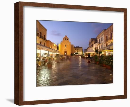 Piazza Matrice at Dusk, Trapani, Favignana Island, Sicily, Italy, Europe-Vincenzo Lombardo-Framed Photographic Print