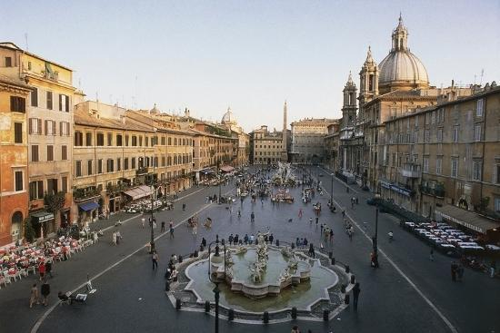 Piazza Navona with the Fountain of Neptune (Formerly Fontana Dei Calderai) in the Foreground--Photographic Print