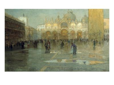 Piazza San Marco after the Rain, Venice, 1914-Pietro Fragiacomo-Giclee Print
