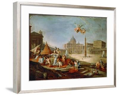 Piazza San Pietro, Rome with an Allegory of the Triumph of the Papacy-Giovanni Paolo Panini-Framed Giclee Print