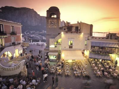 Piazza Umberto, Town Center Promenade with a View of Anacapri-Richard Nowitz-Photographic Print