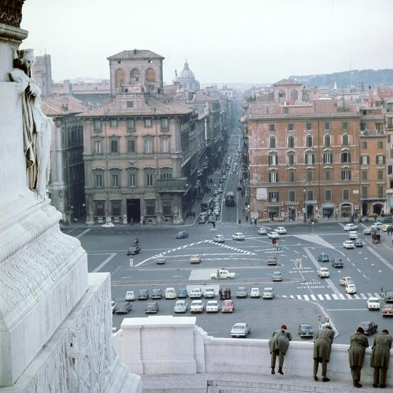 Piazza Venezia from monument of Victor Emmanuel II of Italy, 19th century Artist: Unknown-Unknown-Photographic Print
