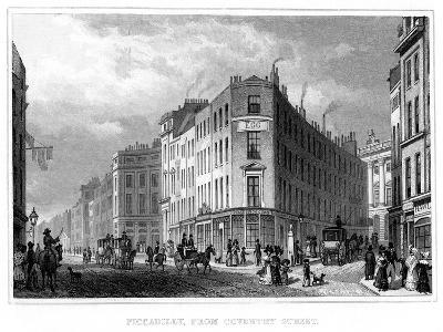 Piccadilly, from Coventry Street, Westminster, London, 19th Century--Giclee Print