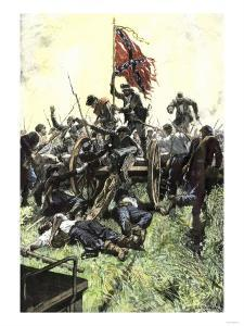 Pickett's Charge Reaching the Union Center at the Battle of Gettysburg, American Civil War