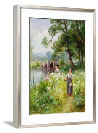 Picking Flowers by the River-Ernest Walbourn-Framed Giclee Print