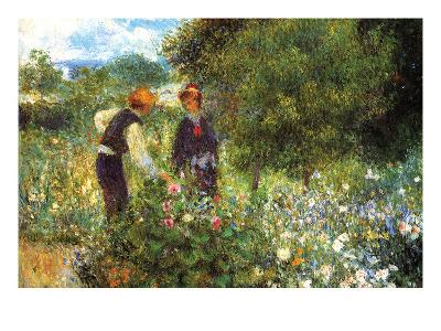 Picking Flowers-Pierre-Auguste Renoir-Art Print