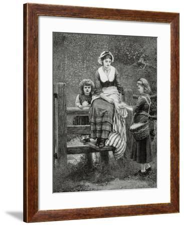Picking Flowers.--Framed Giclee Print