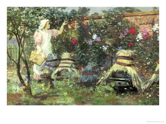Picking Fruit in a Suffolk Garden-Lexden Lewis Pocock-Giclee Print