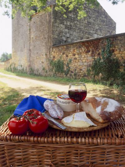 Picnic Lunch of Bread, Cheese, Tomatoes and Red Wine on a Hamper in the Dordogne, France-Michael Busselle-Photographic Print