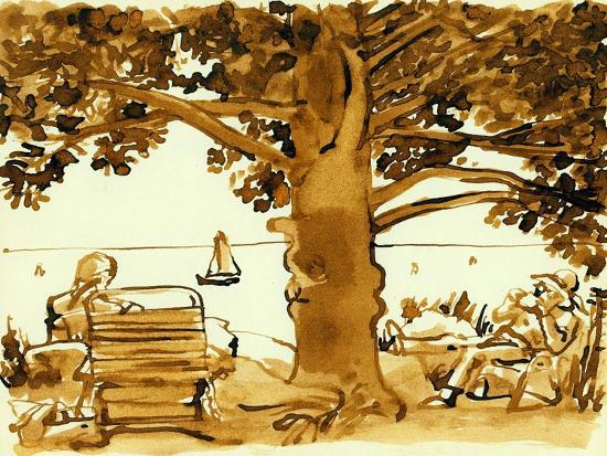 Picnic on the Maine Coast, 1975, ink drawing--Giclee Print