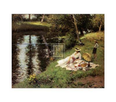 Picnic on the Riverbank-Fernand Toussaint-Art Print