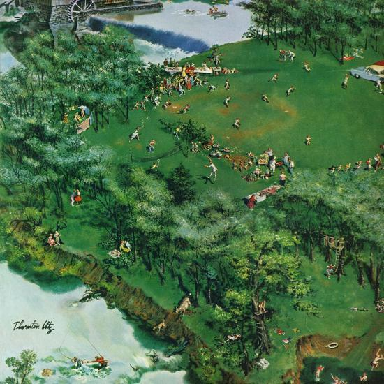 """""""Picnicking on the Fourth"""", July 4, 1959-Thornton Utz-Giclee Print"""