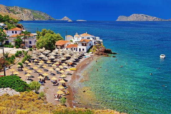 Pictorial Beaches of Greece - Hydra Island- leoks-Photographic Print