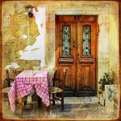 Pictorial Old Greek Streets With Tavernas - Retro Styled Picture-Maugli-l-Art Print