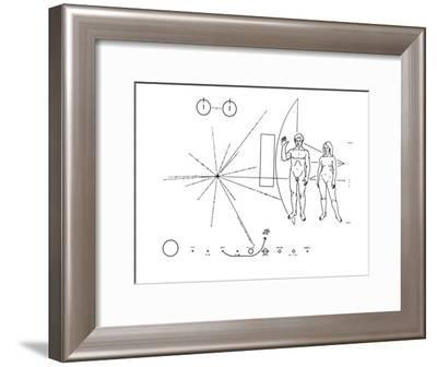 Pictorial Plaque of the Pioneer F Spacecraft Destined for Interstellar Space--Framed Photo