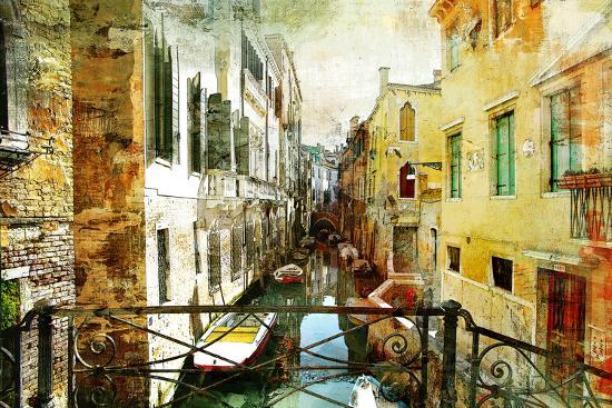 Pictorial Venetian Streets - Artwork In Painting Style-Maugli-l-Art Print