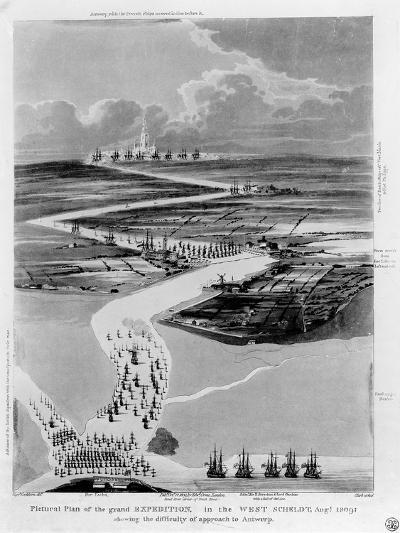 Pictural Plan of the Grand Expedition in the West Scheldt-Captain Cockburn-Giclee Print