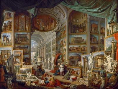 Picture Gallery with Views of Ancient Rome (Roma Antic)-Giovanni Paolo Panini-Giclee Print