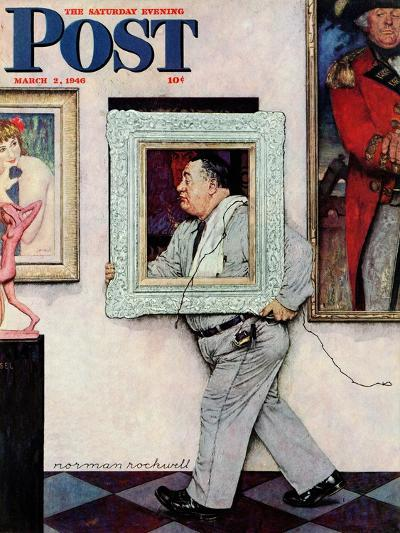 """Picture Hanger"" or ""Museum Worker"" Saturday Evening Post Cover, March 2,1946-Norman Rockwell-Giclee Print"