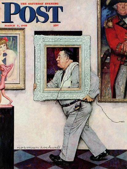 """""""Picture Hanger"""" or """"Museum Worker"""" Saturday Evening Post Cover, March 2,1946-Norman Rockwell-Giclee Print"""