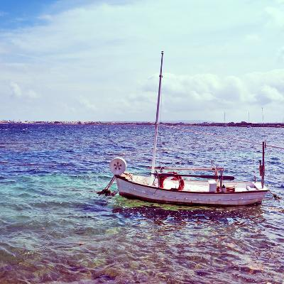 Picture of a Fishing Boat in Estany Des Peix Lagoon, in Formentera, Balearic Islands, Spain-nito-Photographic Print