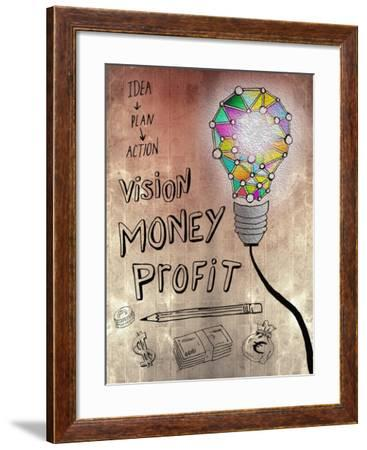 Picture Of Huge Mosaic Light Bulb On Brown Wall Next To Written Down Business Plan-Wavebreak Media Ltd-Framed Art Print
