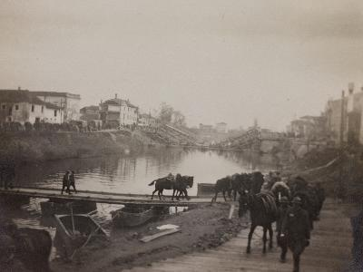 Pictures of War II: Italian Soldiers and Horses Crossing a Temporary Bridge after a Bombing--Photographic Print