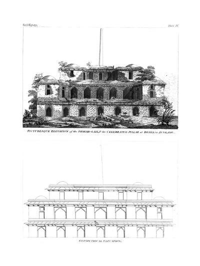 Picturesque Elevation of the Shikar Gah and the Celebrated Pillar at Delhi, June 1797--Giclee Print