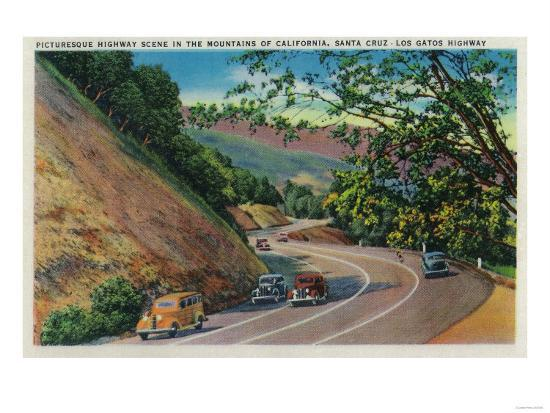 Picturesque Los Gatos Highway near Santa Cruz - Santa Cruz, CA-Lantern Press-Art Print