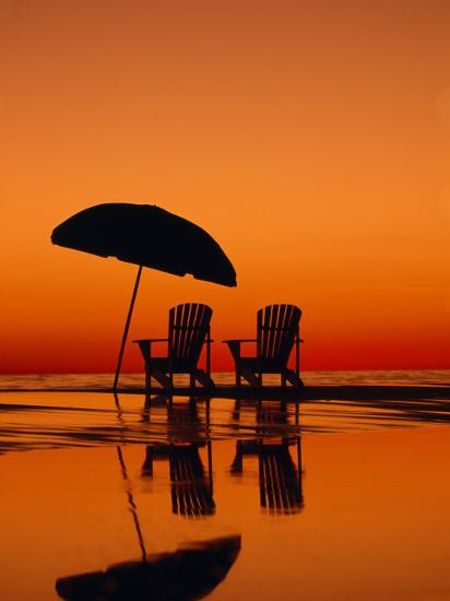 Picturesque Scene with Two Chairs and an Umbrella on the Beach-Michael Melford-Photographic Print