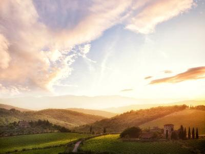 Picturesque Tuscany Landscape at Sunset, Italy-Markus Schieder-Photographic Print