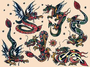 Asian Dragons, Authentic Vintage Tatooo Flash by Norman Collins, aka, Sailor Jerry by Piddix