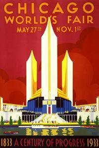 """Chicago World's Fair"" Vintage Travel Poster, 1933 by Piddix"