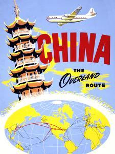 """China the Overland Route"" Vintage Travel Poster by Piddix"