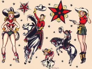 Cowboys & Cowgirls, Authentic Rodeo Tatooo Flash by Norman Collins, aka, Sailor Jerry by Piddix