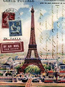 Eiffel Tower, French Vintage Postcard Collage by Piddix