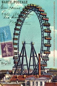 Ferris Wheel in Paris, Vintage Postcard Collage by Piddix