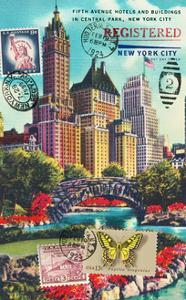 Fifth Avenue in Central Park, New York City Vintage Postcard Collage by Piddix
