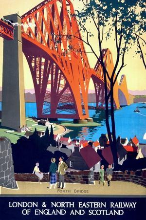 """Forth Bridge"" Vintage Travel Poster, London & North Eastern Railway of England & Scotland"