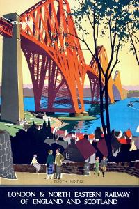 """Forth Bridge"" Vintage Travel Poster, London & North Eastern Railway of England & Scotland by Piddix"