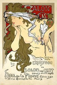 "French Art Nouveau Poster ""Salon des Cent 20th Exhibition"" by Alphonse Mucha, 1896 by Piddix"