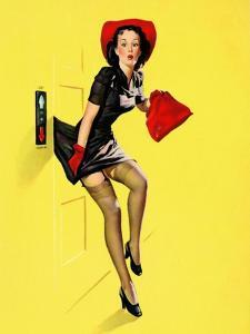 """Going Up"" Retro Pin-Up Girl with Dress Caught in Elevator by Gil Elvgren by Piddix"