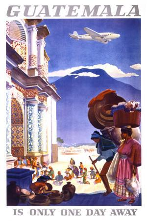 """""""Guatemala is Only One Day Away"""" Vintage Travel Poster"""