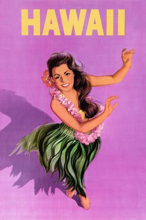 Hawaiian Hula Girl Vintage Travel Poster