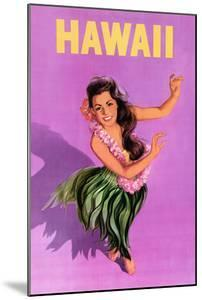 Hawaiian Hula Girl Vintage Travel Poster by Piddix