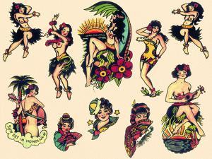 """Hawaiian Ladies"" Vintage Sailor Tatooo Flash by Piddix"