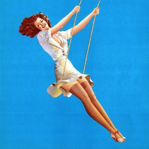 """""""Keep 'Em Flying"""" Retro Pin-Up on Swing Girl by Vaughn Alden by Piddix"""